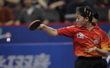 图文-世乒赛女单1/8决赛波尔挥拳庆祝胜利
