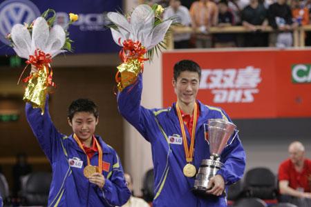 图文-世乒赛混双决赛激战王励勤/郭跃夺得冠军