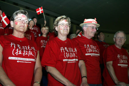 图文-苏迪曼杯中国提前进四强可敬的丹麦老年啦啦队
