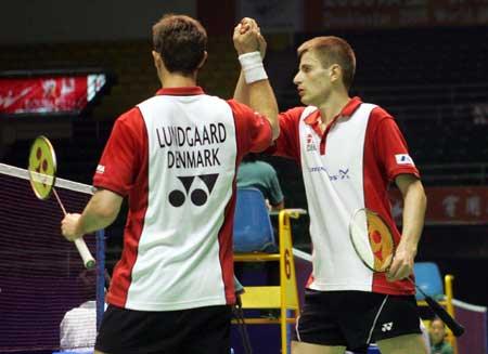图文-苏迪曼杯羽毛球赛次日丹麦搭档庆祝胜利