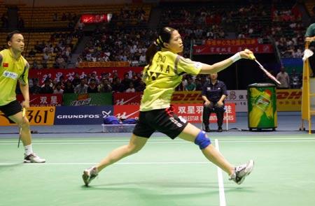 图文-苏迪曼杯半决赛中国VS韩国高��网前放小球