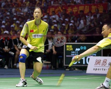 图文-苏迪曼杯半决赛中国VS韩国张军寸步不让
