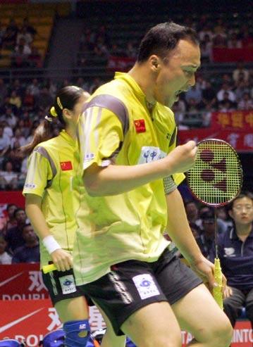 图文-苏迪曼杯半决赛中国VS韩国张军高��庆祝得分