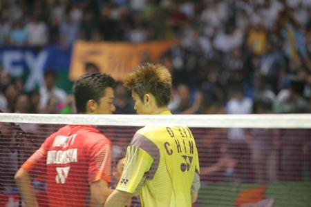 图文-苏杯决赛中国VS印尼超级丹与陶菲克英雄相惜