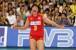 图文-女排大奖赛总决赛中国胜巴西杨昊大叫庆祝得分