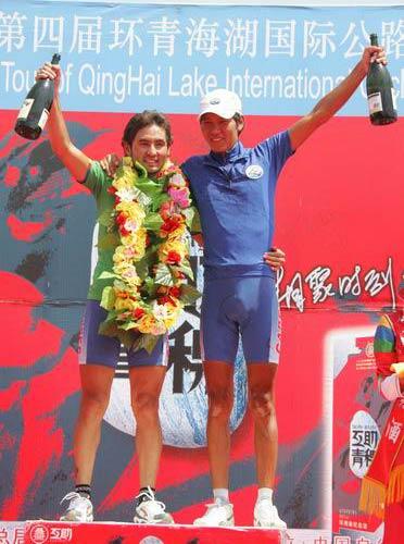 图文-2005环湖自行车赛落幕绿衫与蓝衫获得者