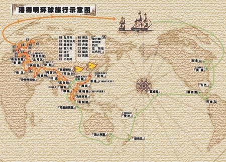 图文-中国青年铁硬脚板走世界潘德明环球旅行示意图