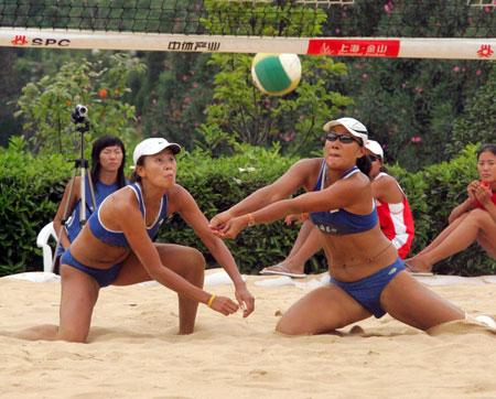 全国沙滩排球巡回赛总决赛上海季琳君垫球