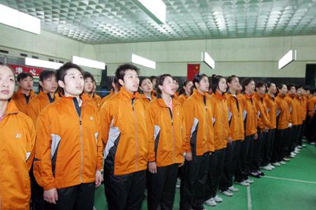 图文-羽毛球冠军上榜仪式上榜仪式上高唱国歌