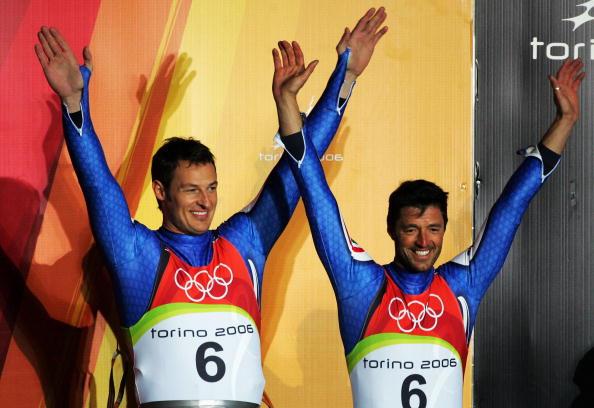 图文-冬奥会双人无舵雪橇意大利的季军选手