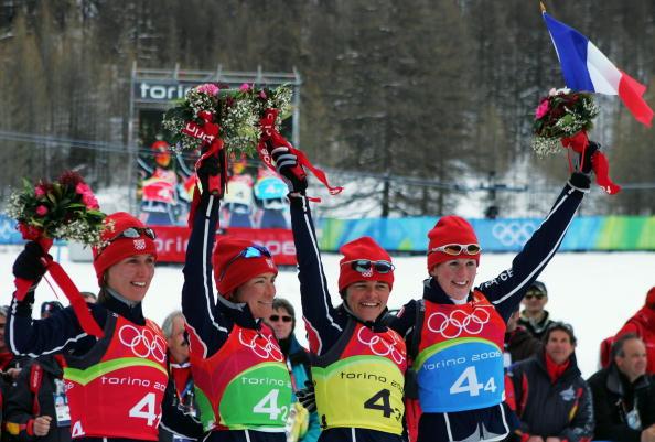 图文-冬季两项女子4x6公里接力赛法国队难掩兴奋