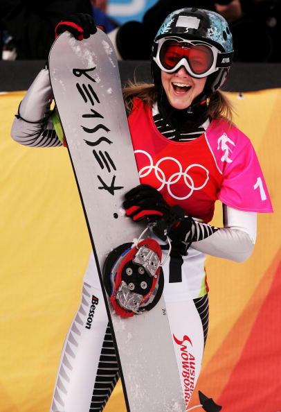 图文-单板滑雪女子平行大回转穆利笑容灿烂