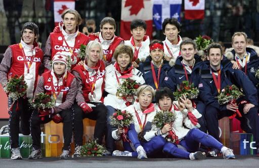 图文-冬奥颁奖图大全短道速滑男子5000米韩国夺冠