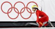 图文-06冬奥会摔倒图特辑速滑1500米程晓蕾欲哭无泪