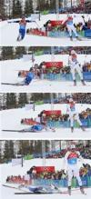 图文-冬奥会合成图片特辑4X7.5接力赛法国选手撞线