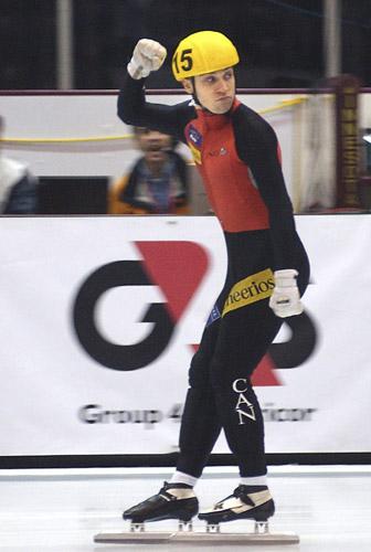图文-短道世锦赛男子500米决赛特兰布雷庆祝夺冠