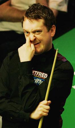 图文-斯诺克世锦赛第九日赛况大卫-格雷怪异的表情