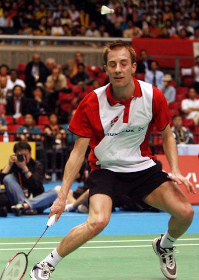 图文-汤姆斯杯决赛中国VS丹麦盖德错过回球良机