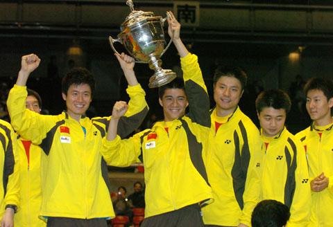 图文-中国男队六夺汤姆斯杯中国队队员赛后合影
