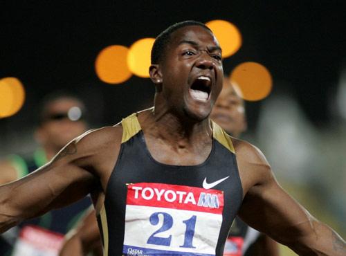 图文-加特林打破百米世界纪录飞人霸气谁人能比