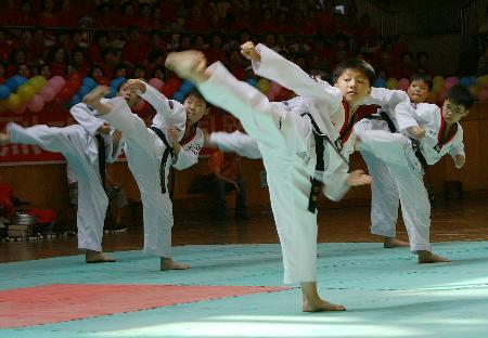 图文-中韩武术跆拳道交流 小选手动作整齐划一
