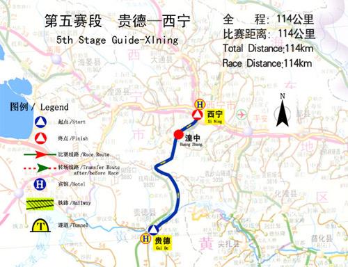 图文-2006环青海湖自行车赛线路图第五赛段