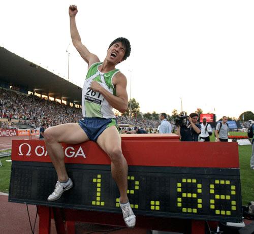 图文-洛桑大奖赛刘翔破世界纪录纪录坐在飞人身下