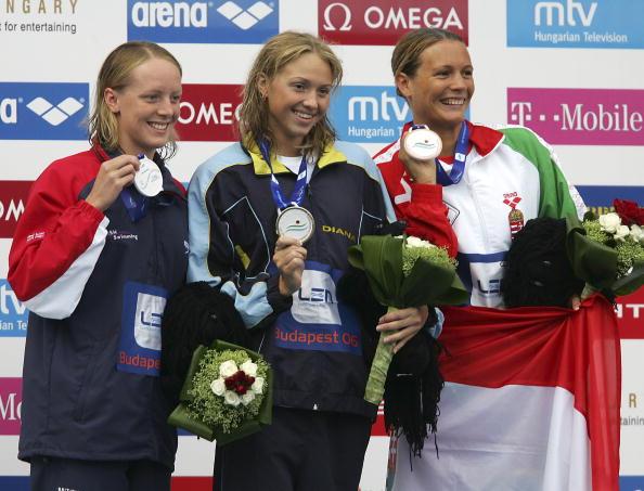 图文-欧洲游泳锦标赛赛况女子100米蛙泳前三名