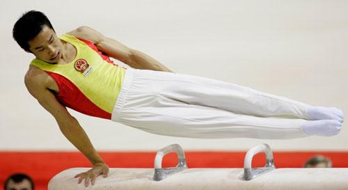 图文-体操世锦赛肖钦卫冕鞍马冠军马上动作无可挑剔