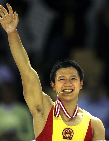 图文-体操世锦赛陈一冰夺得吊环冠军笑得如此灿烂