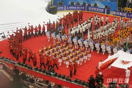 图文-长春亚冬会盛大开幕中国代表团浩浩荡荡
