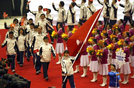 图文-长春亚冬会盛大开幕中国香港代表团入场
