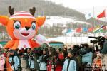 图文-冬季两项女子15公里刘显英摘金记者观众围观