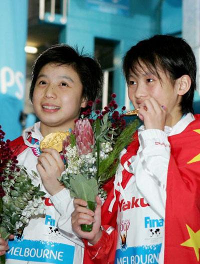 图文-贾童陈若琳10米台摘金尝尝这金牌是啥滋味