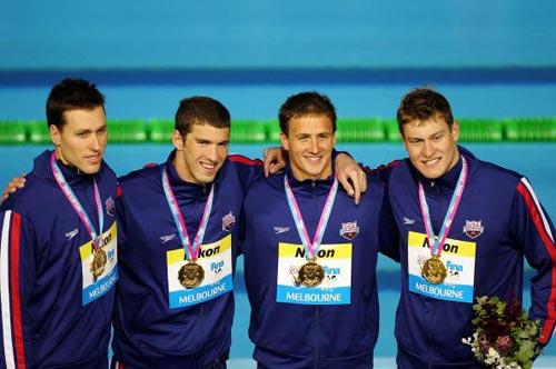 图文-菲尔普斯的七枚金牌4X200米自由泳接力