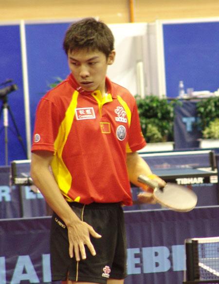 图文-世乒赛男单陈�^4比0晋级次轮小伙酷劲十足
