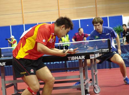 图文-世乒赛男单王皓4比0晋级次轮一切尽在掌握