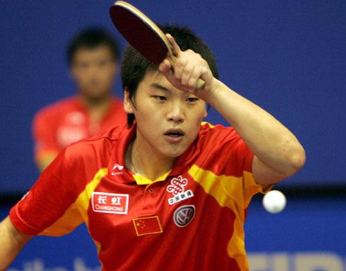 图文-世乒赛男单郝帅4比0晋级次轮郝帅大力抽拍