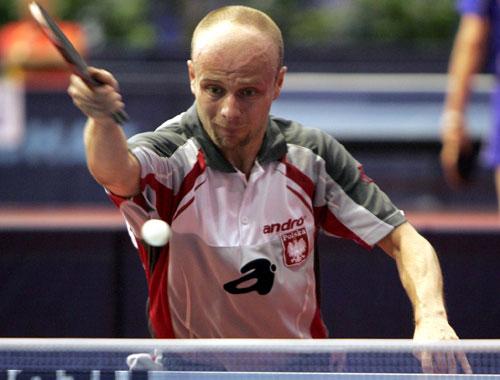 图文-世乒赛男单比赛第二轮激战波兰人反手抢拉