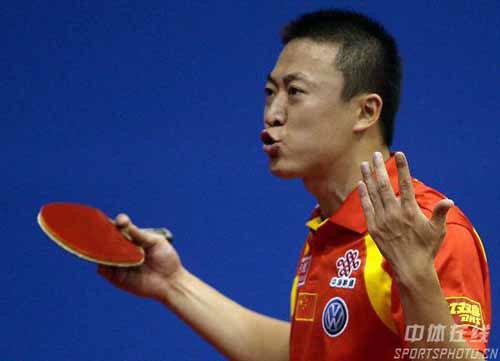 图文-世乒赛男单次轮马琳轻取对手神勇状态何所惧