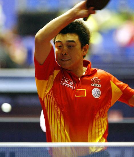 图文-世乒赛男单王皓轻松晋级王皓在比赛中回球