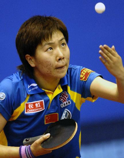 图文-世乒赛女单李晓霞顺利晋级瞧她怎样发球?