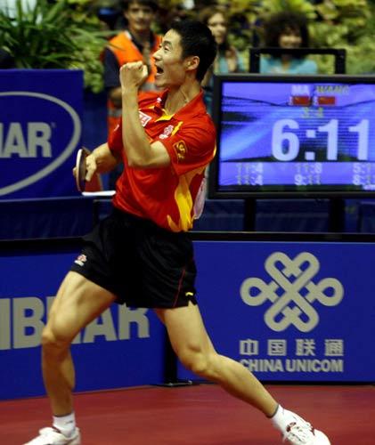 图文-世乒赛王励勤夺得男单冠军夺冠后的霸气一吼