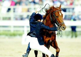 天津选手在马术比赛不慎坠马所幸并未受伤(图)