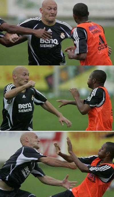 皇马球星互殴格拉维森和罗比尼奥把训练场当成拳台