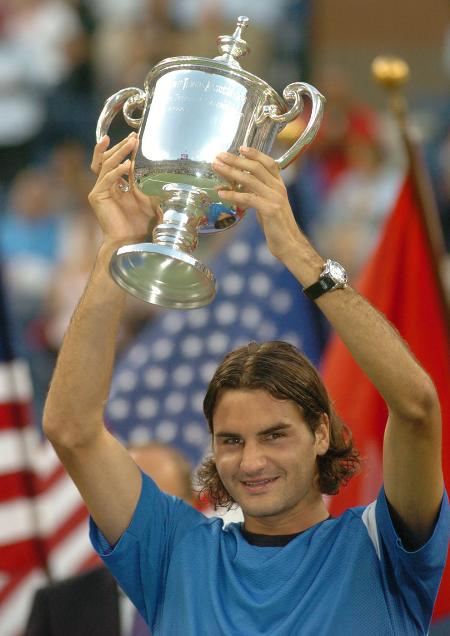 费德勒夺得美网男单冠军瑞士人满脸喜悦