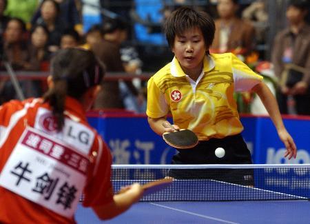 图文-世界杯乒乓球赛开赛柳絮飞击败牛剑锋