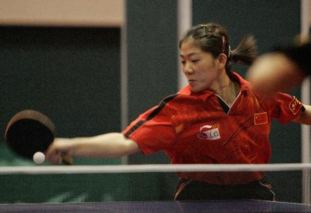 图文-中国女乒举行内部循环赛 牛剑锋横刀立马