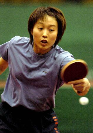 图文-女乒激情备战世乒赛面对来球白杨挤眉弄眼