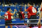图文-世乒赛男双四分之一决赛王励勤阎森庆祝晋级